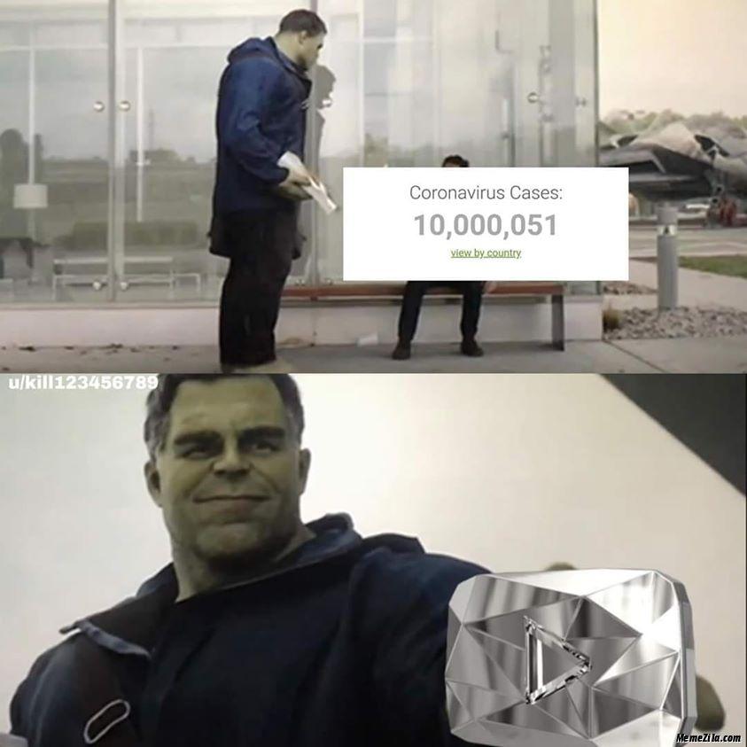 10 million coronavirus cases Youtube Diamond button meme