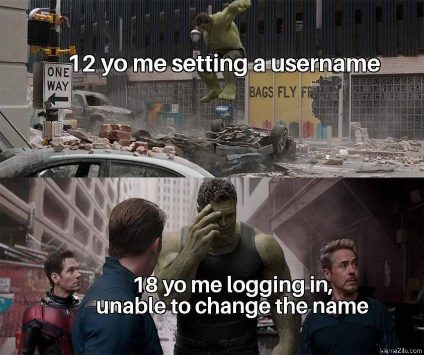12 yo me setting a username 18 yo me logging in Unable to change the name meme