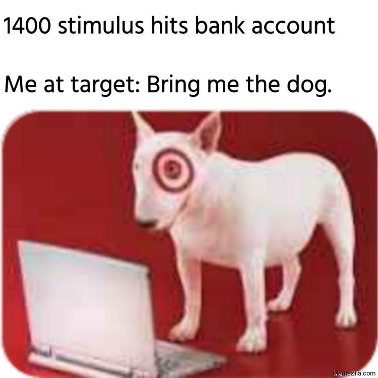 1400 stimulus hits bank account Me at target Bring me the dog meme