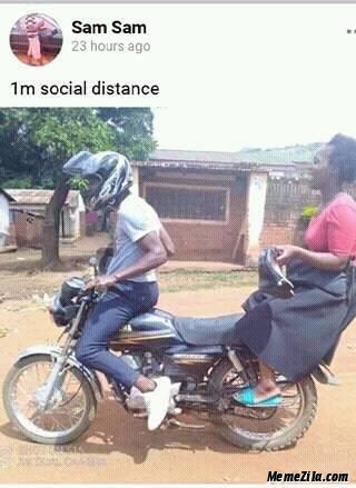 1m social distance on bike meme