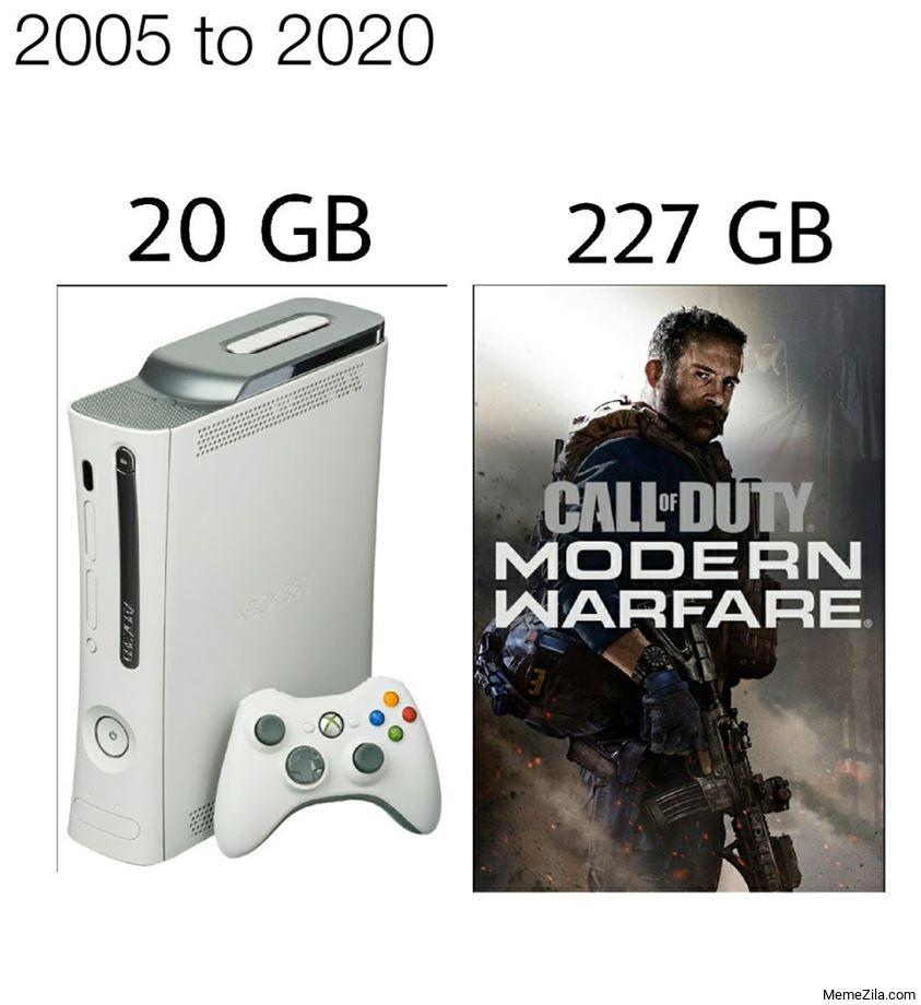2005 to 2020 20GB 227GB Call of Duty Modern Warfare meme