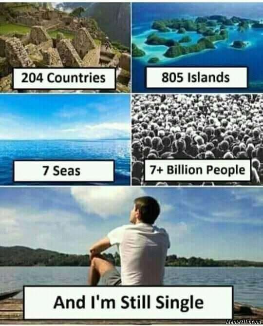 204 countries 805 Islands 7 seas and 7 million people And I am still single meme