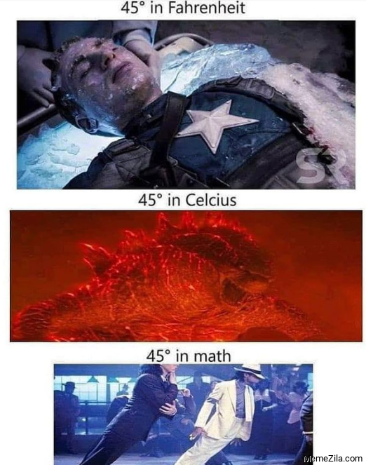 45 degree in math meme