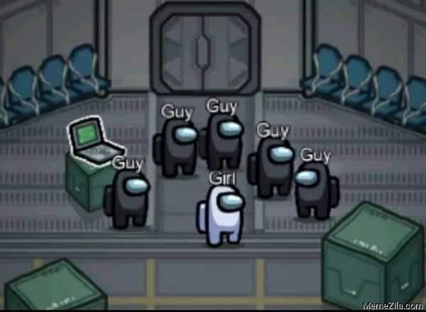 5 guy 1 girl Among us meme