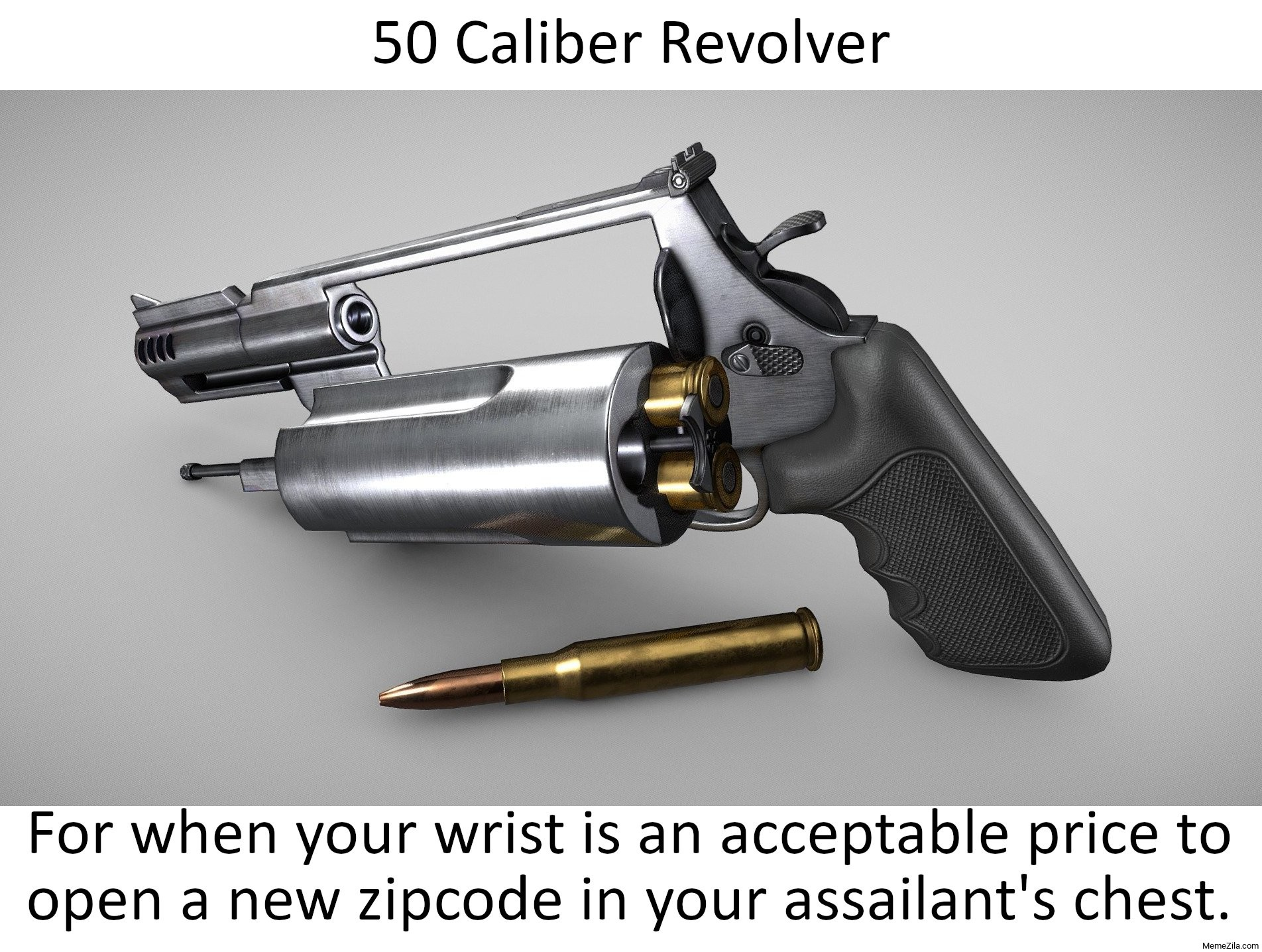 50 caliber revolver meme