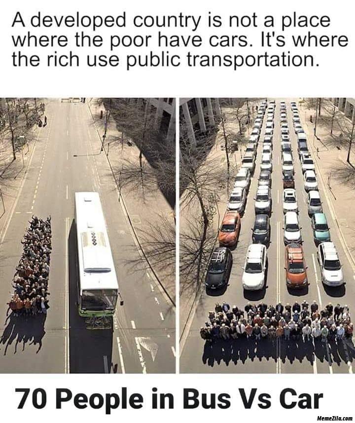 70 people in bus vs car meme