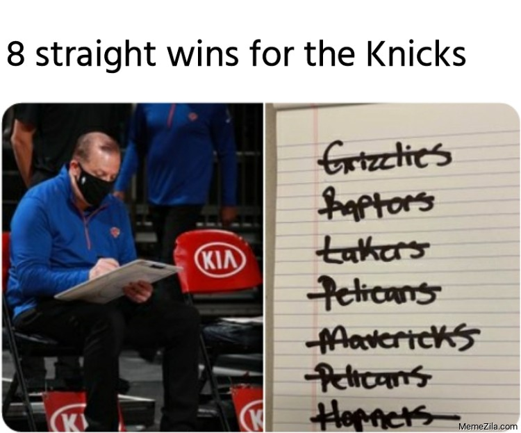 8 straight wins for the Knicks meme