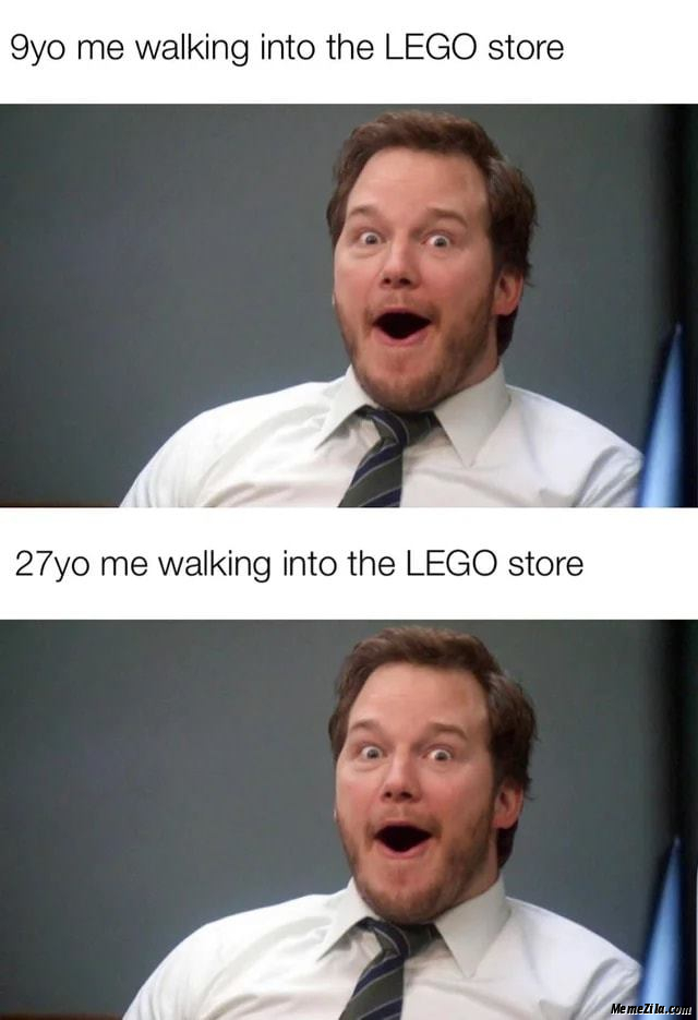 9 year old me walking into lego store vs 9 year old me walking into lego store