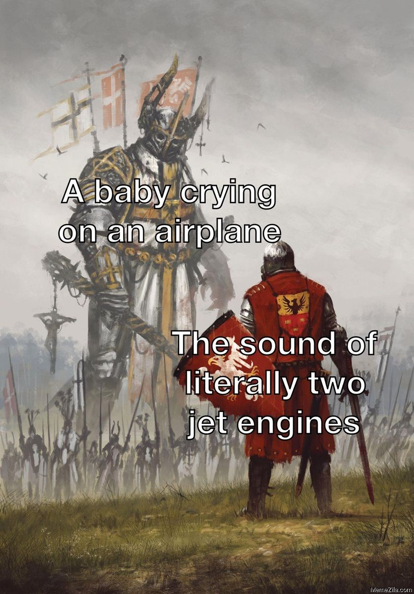 A baby crying on an airplane The sound of literally two jet engines meme