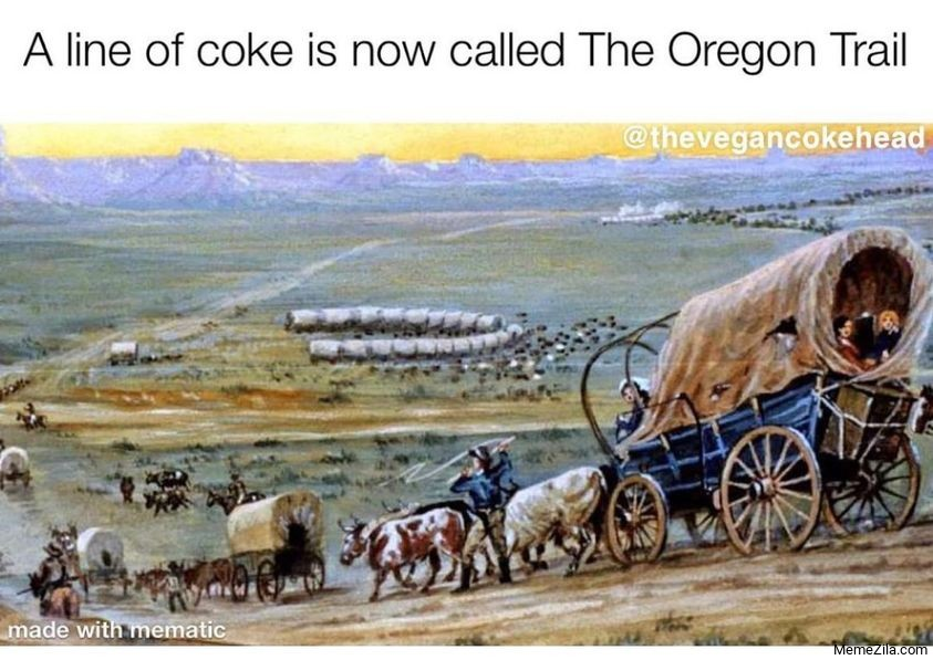 A line of coke is now called The Oregon trail meme