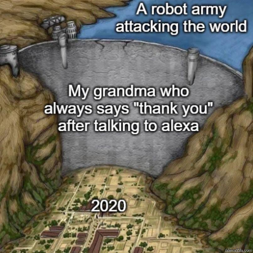 A robot army attacking the world My grandmother who always says thank you after talking to alexa 2020 meme