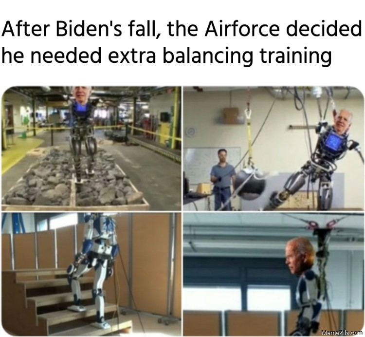 After Bidens fall the Airforce decided he needed extra balancing training meme