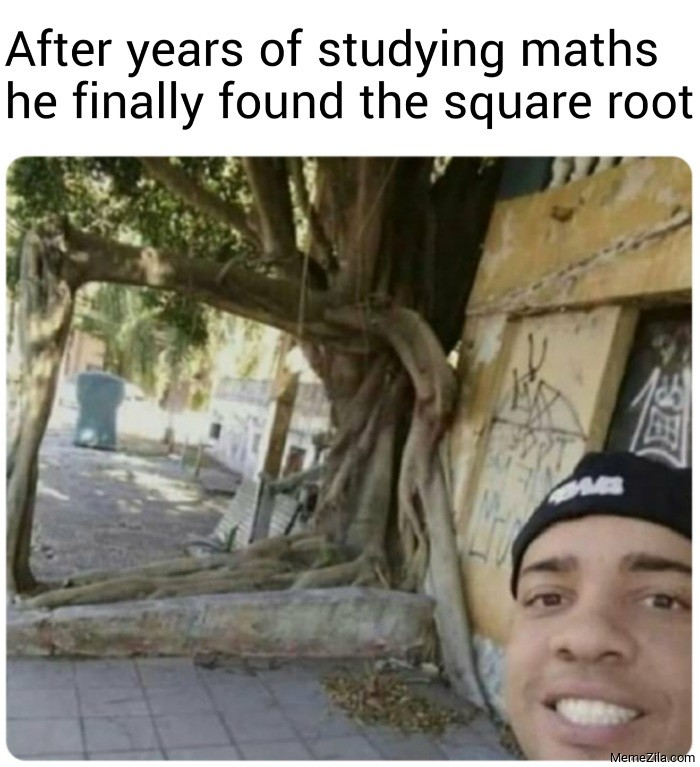 After years of studying maths he finally found the square root meme