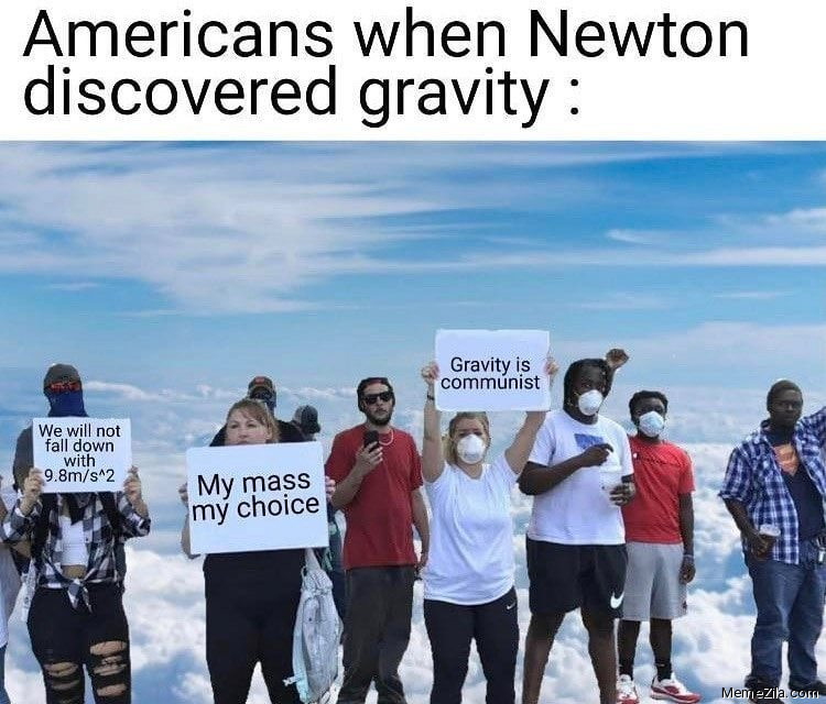 Americans when Newton discovered gravity meme