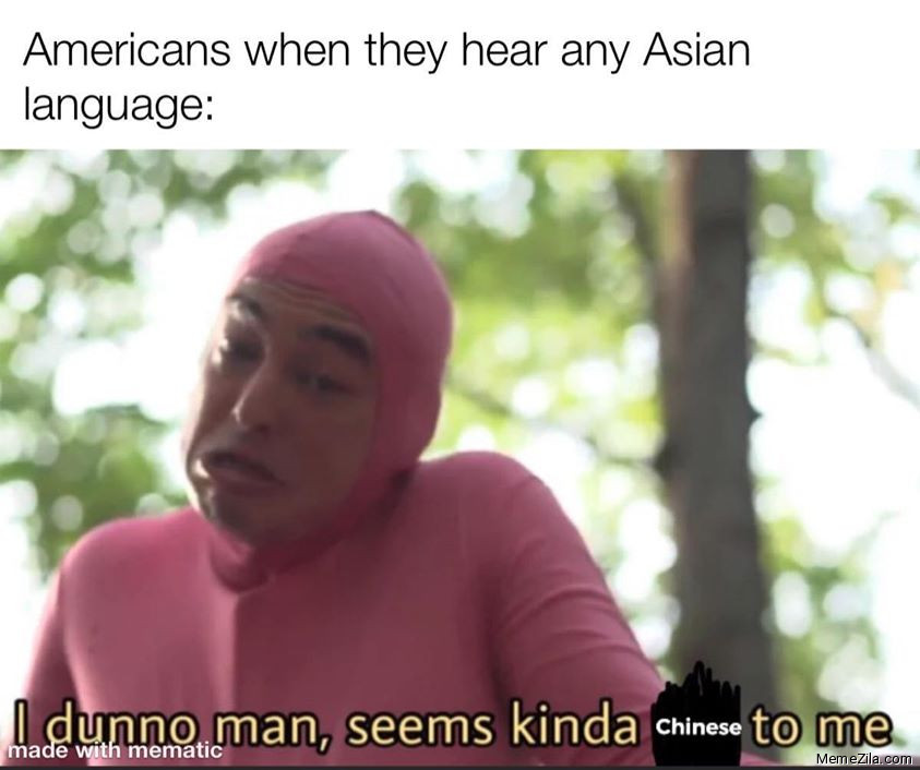 Americans when they hear any Asian language I dunno man seems kinda chinese to me meme