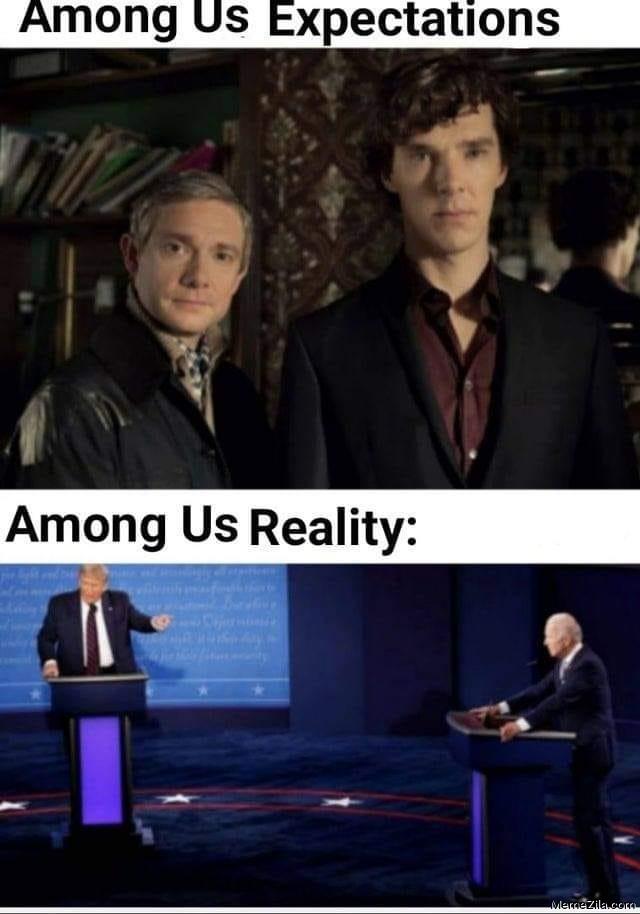 Among us expectations vs Among us reality meme