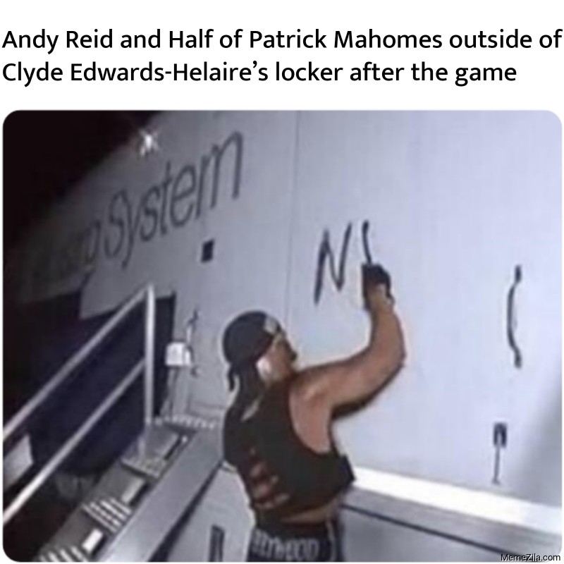 Andy Reid and Half of Patrick Mahomes outside of Clyde Edwards-Helaire's locker after the game meme