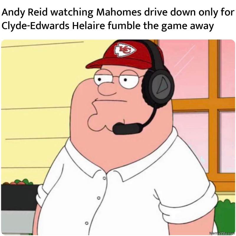 Andy Reid watching Mahomes drive down only for Clyde-Edwards Helaire fumble the game away meme