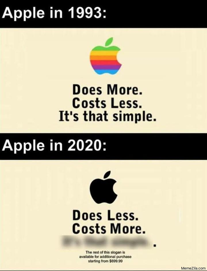 Apple in 1993 vs Apple in 2020 meme