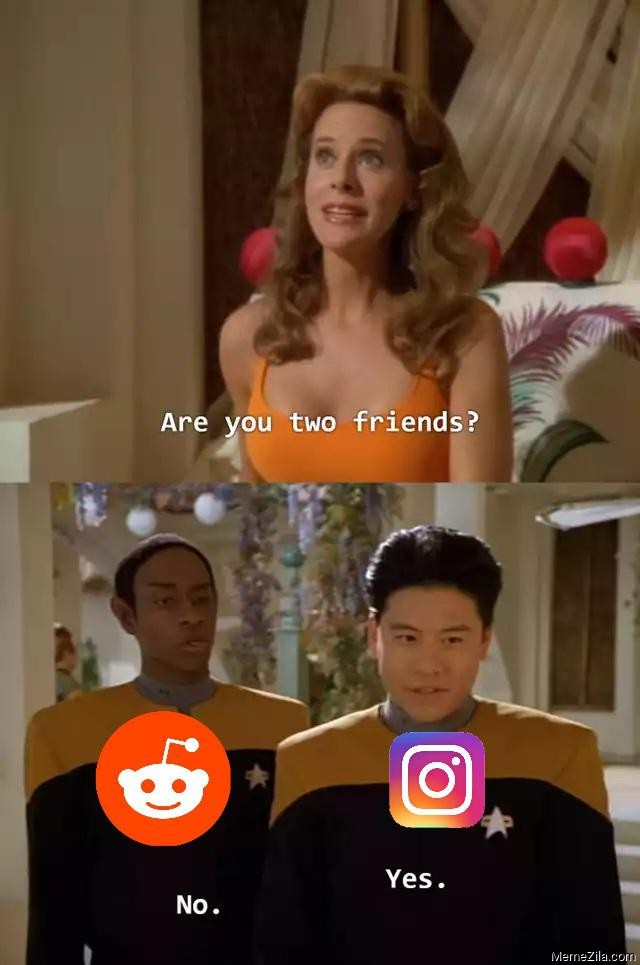 Are you two friends Reddit Yes Instagram No meme