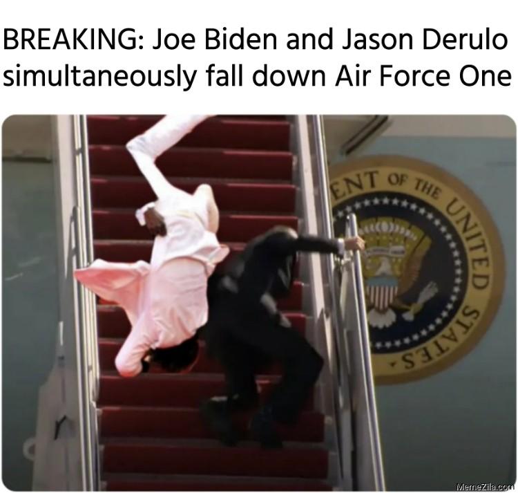 BREAKING Joe Biden and Jason Derulo simultaneously fall down Air Force One meme