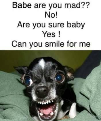 Babe are you mad are you sure baby can you smile for me meme