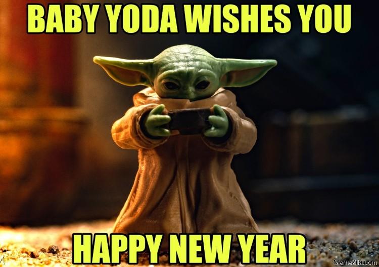 Baby yoda wishes you Happy new year meme