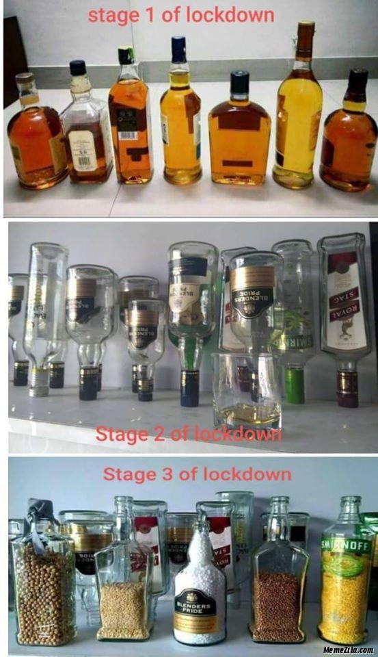 Beer Bottles In Stage 1 Stage 2 And Stage 3 Of Lockdown Meme Memezila Com