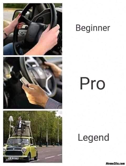 Beginner vs Pro vs Legend car driver meme