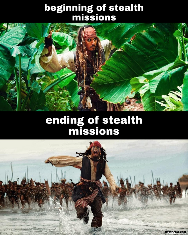 Beginning of stealth missions vs ending of stealth missions meme