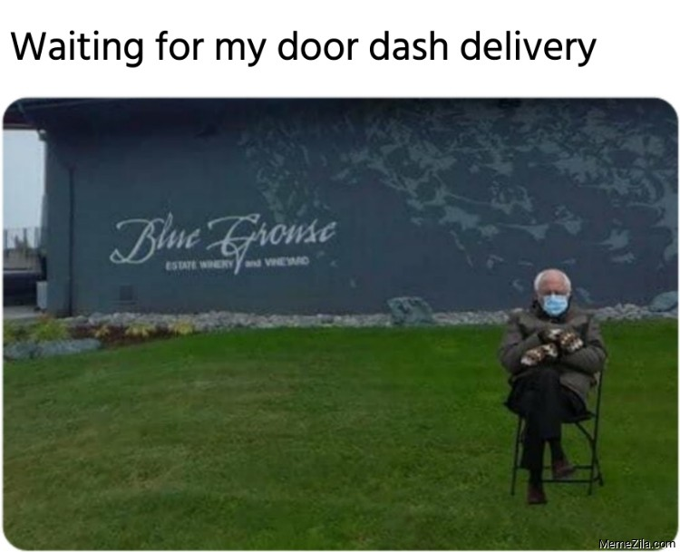 Bernie waiting for door dash delivery