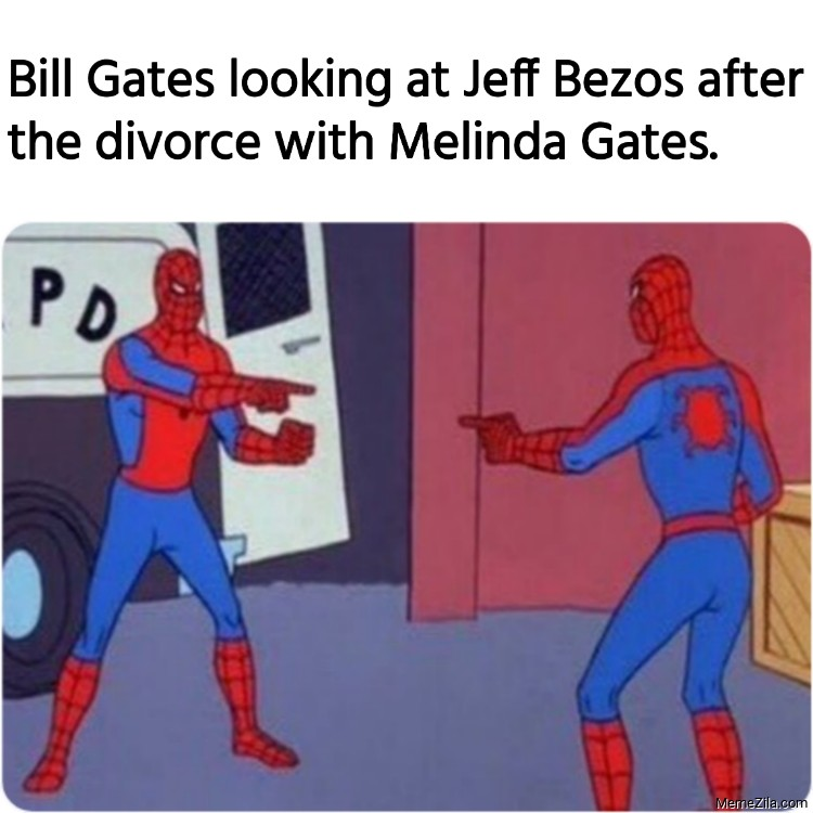 Bill Gates looking at Jeff Bezos after the divorce with Melinda Gates meme