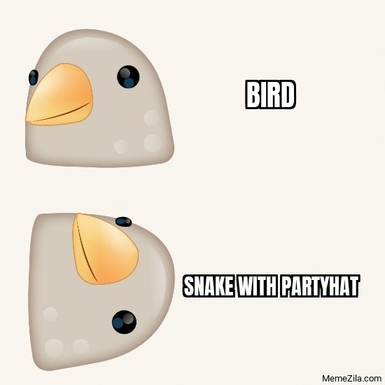 Bird vs Snake with partyhat meme