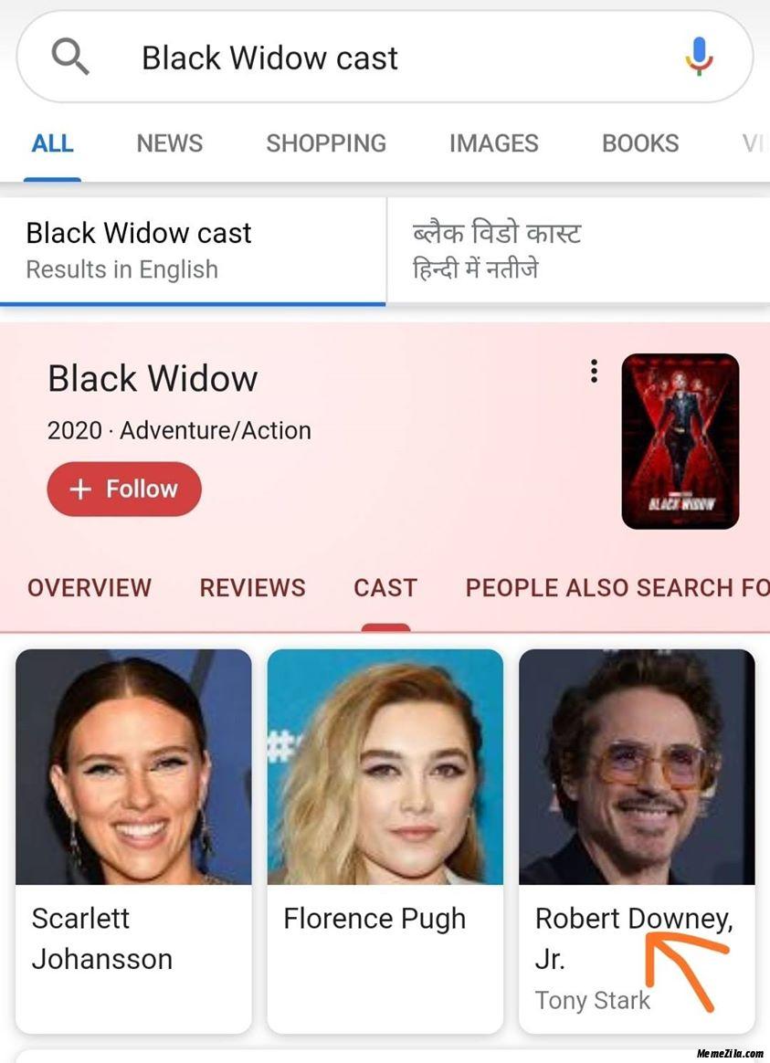 Black widow cast meme