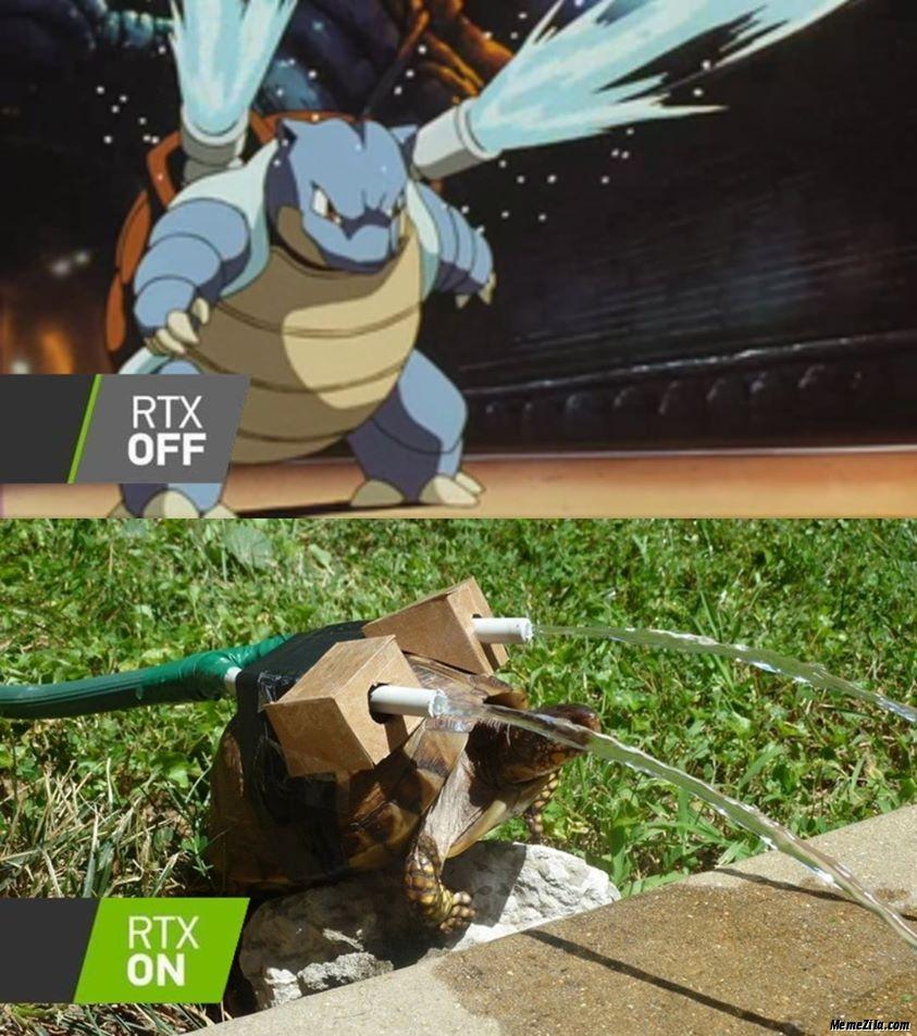 Blastoise Rtx on vs Rtx off meme