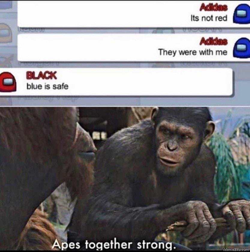 Blue is safe Apes together strong meme