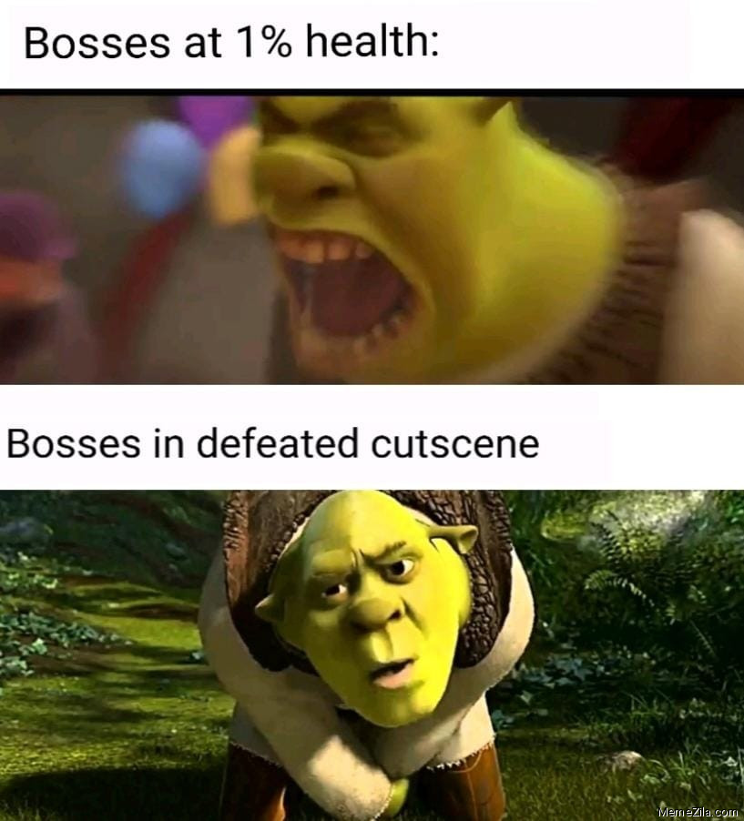 Bosses at 1 percent health vs Bosses in defeated cutscene meme