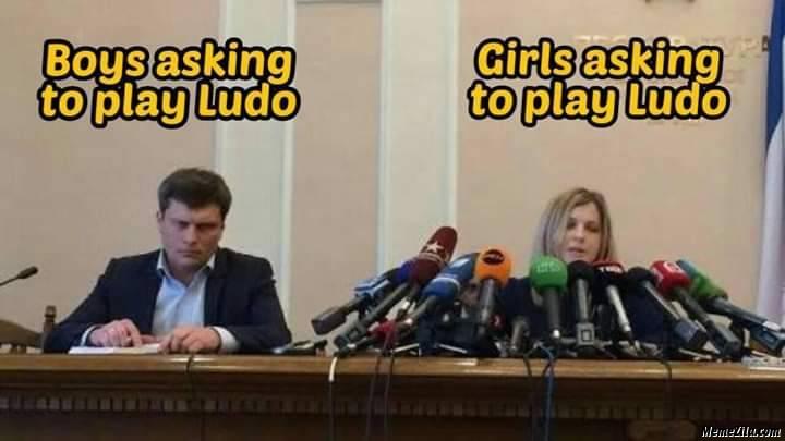 Boys asking to play ludo vs Girls asking to play ludo meme
