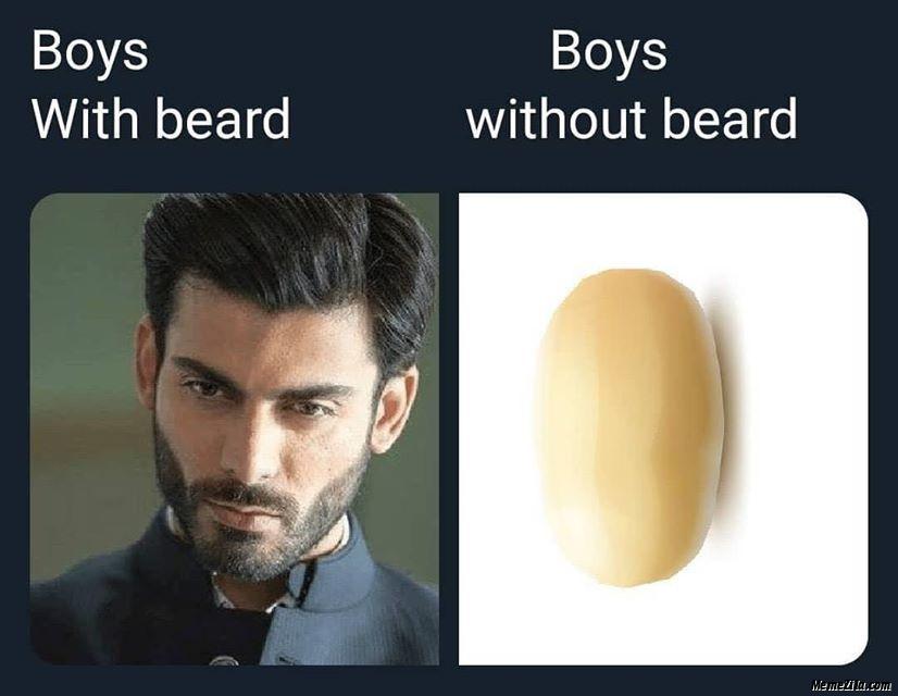 Boys with beard Boys without beard meme