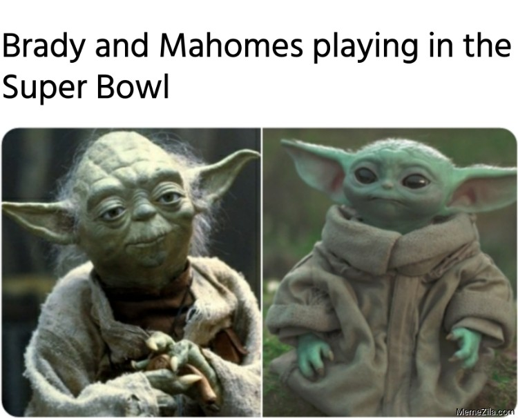 Brady and Mahomes playing in the Super Bowl meme