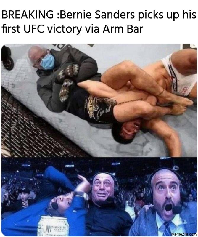 Breaking Bernie Sanders picks up his first ufc victory via arm bar meme