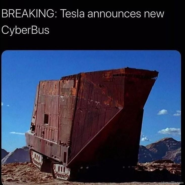 Breaking Tesla announces new cyberbus meme