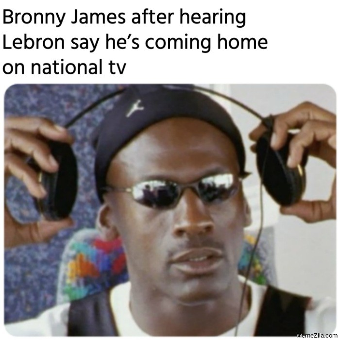 Bronny James after hearing Lebron say he is coming home on National TV meme