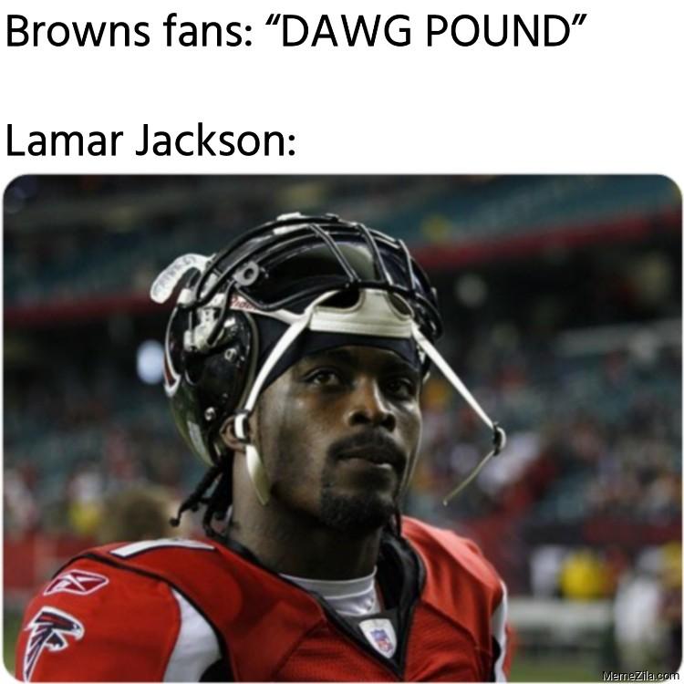 Browns fans Dawg Pound Lamar Jackson meme