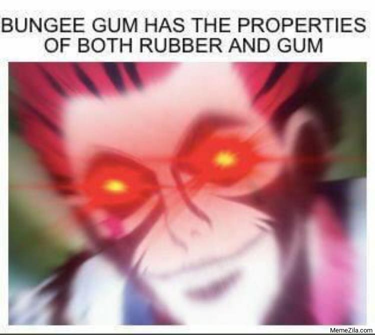 Bungee Gum has properties of both rubber and gum meme