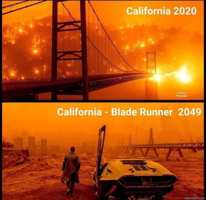 California 2020 vs California Blade Runner 2049 meme