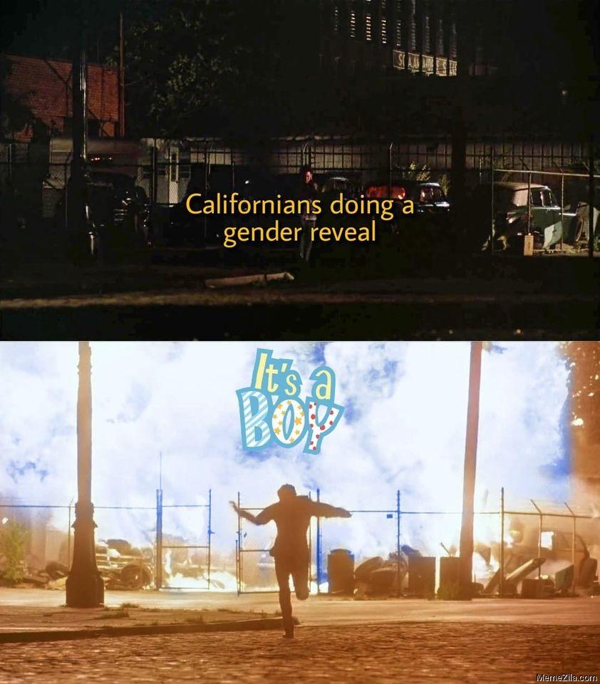 Californians doing a gender reveal Its a boy meme