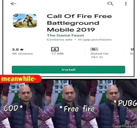 Call of fire free battleground mobile 2019 game Meanwhile COD Free fire Pubg meme