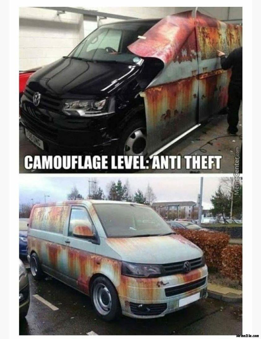 Camouflage level Anti theft meme