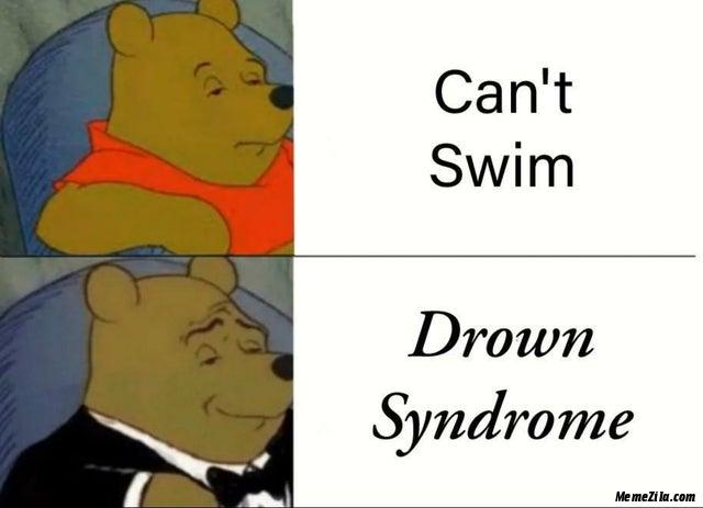 Cant swim Drown syndrome meme